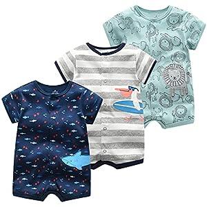 Bebé Niños Monos 3 Piezas - Verano Pijama de Algodón Mameluco de Manga Corta Animales Pelele para Recién nacido 9-12 Meses
