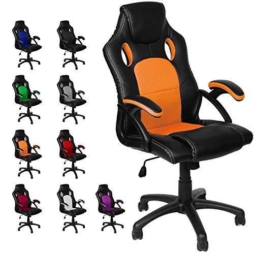 Gamer Stuhl Gaming Schreibtischstuhl Chefsessel Bürostuhl Ergonomisch, Orange, 9 Farbvarianten, gepolsterte Armlehnen, Wippmechanik, belastbar bis 150 kg, Lift TÜV geprüft, Panorama24