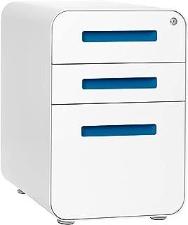 Stockpile 3-Drawer File Cabinet, Commercial-Grade (White/Light Blue)