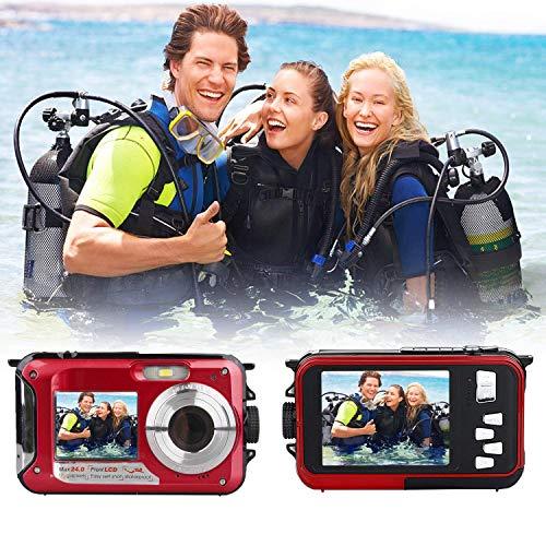 Unterwasserkamera zum Schnorcheln, wasserdichte 2,7K 24MP Digitalkamera, HD wiederaufladbare Kamera mit Doppelbildschirm für Camping, Unterwasser, Schwimmen, Unterwasserkamera (rot)