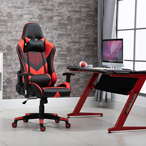 creatspaceDE Gaming Stuhl Bürostuhl Schreibtischstuhl Kunstleder Gamer Stuhl Drehstuhl höhenverstellbarer PC Stuhl Ergonomisches Design mit Fußstütze und Wippfunktion (red 2)