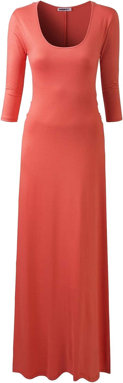 NINEXIS Women's V-Neck Max 48% OFF 3 4 Sleeve Wrap Dress Maxi Waist Front Fashion