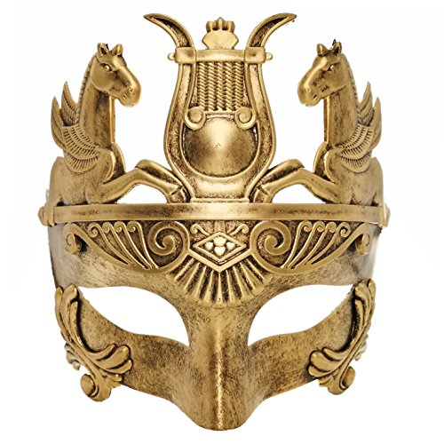 Glod Masculine Greek & Roman Soldier Masquerade Mask for Men Venetian Mask