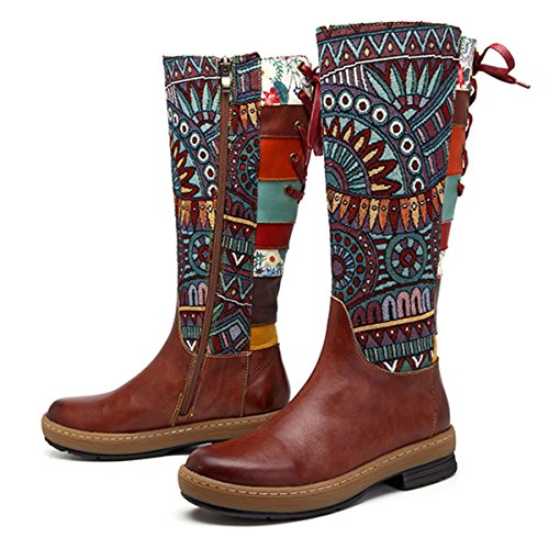 Socofy Leather Knee Boots, Women's Bohemian Splicing Pattern Flat Knee High Boots Coffee 5 B(M) US