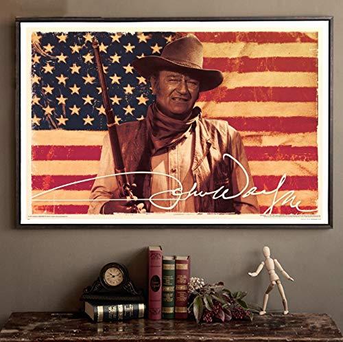 DAQIANSHIJIE John Wayne & amerikanische Flagge Filmstar Poster Kunst Leinwand Poster Wandbilder für Wohnzimmer 50X75Cm ohne Rahmen