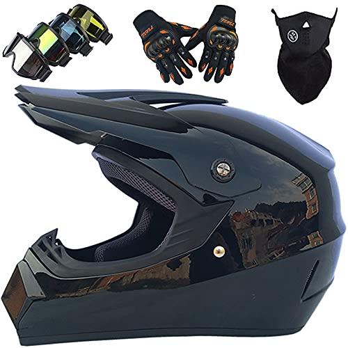 Casco Motocross Bambini, MJH-01 Casco da Fuoristrada per Adulti Giovani con Occhiali Guanti Maschera, Casco da Moto Cross Unisex Casco da Bicicletta MTB Integrale Uomo Donna - Taglia: S-XL / 52-59CM