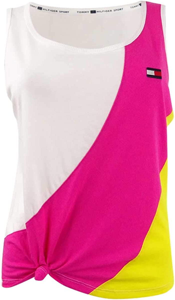 Tommy Hilfiger Women's Sport Knotted Colorblock Top (S, Hot Pink)