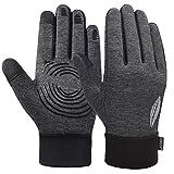 VBIGER Kinder Handschuhe Touchscreen Laufen Handschuhe Radhandschuhe Anti-Rutsch Winterhandschuhe Warm Winddicht für Jungen und Mädchen (Grau, L(10-12 Jahre alt))