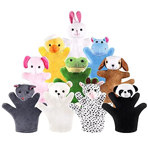 Marionetas de mano 10 tipos de animales de granja, marionetas de mano de felpa, juguetes de simulación, boca móvil, adecuada para juegos de rol y narración (10 piezas)