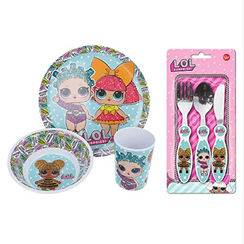 Official L.O.L Surprise! 6Pcs Complete Dining and Cutlery Set for Kids - BPA Free Melamine Dining Set Includes Plate, Bowl, Tumbler, Knife, Fork and Spoon