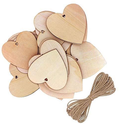 Holz-Herzen,herzförmige Holz-Dekoration mit natürlicher Bindfäden für Bastelarbeiten, Hochzeits-Bastelarbeiten