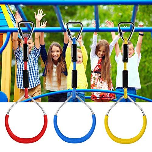 Macabolo 3er-Pack Bunte Swing Bar Ringe Outdoor Gymnastikring Affenring Kletterring für Kinder Spielplatz Home Schaukel Ausrüstung