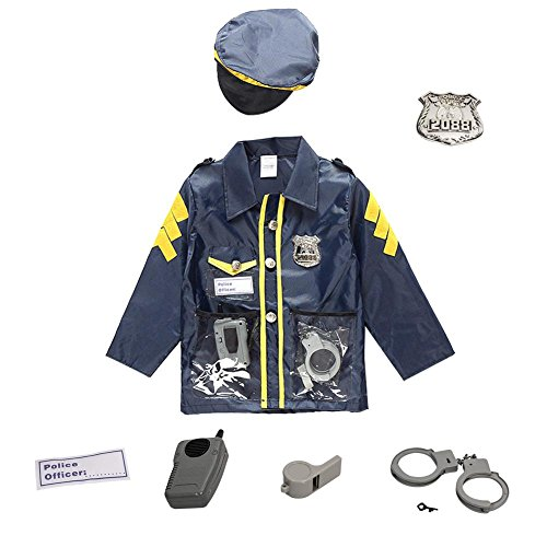 Chlidren's Policeman Disfraz de cosplay Disfraz de policía para niños Disfraces Juego de ropa Juego de ropa - Ropa Sombrero Esposas Walkie-talkie Para niños Niños Niñas Regalo de cumpleaños 3-8 años