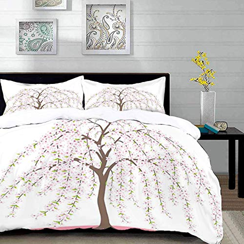 Qoqon bedding - Duvet Cover Set, Weeping Flower,Traditional Japanese Sakura Tree Burst into Flowers Oriental,Taupe Rose and Pale,Microfibre Duvet Cover Set with 2 Pillowcase 50 X 75cm