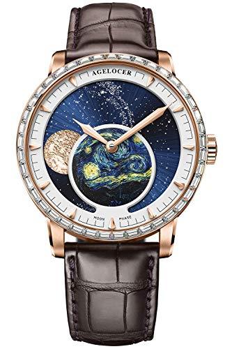Agelocer Reloj mecánico automático azul de la fase de la luna de la marca superior del diamante de los hombres de la marca, Nk_6401f2,