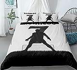 Juego de funda de edredón para cama doble, diseño de patrón artístico, ultra suave, antialérgico, no necesita planchado, ropa de cama de microfibra de lujo - No.7Ronaldo - doble 200 x 200 cm