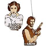 Han and Leia I Love You I Know Christmas Ornament Set | Hand Made Wood Holiday Gift