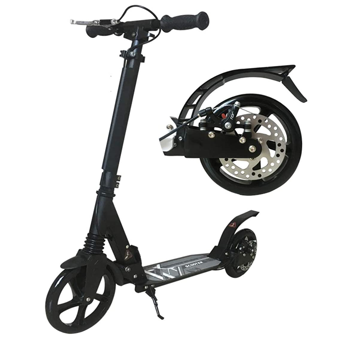 LXLA - Kick Scooter for Adult Kids Teens - Big Wheels Kick Scooter with Disc Hand Brake, Folding Dual Suspension, Adjustable Height - Supports 330lbs (Color : Black)