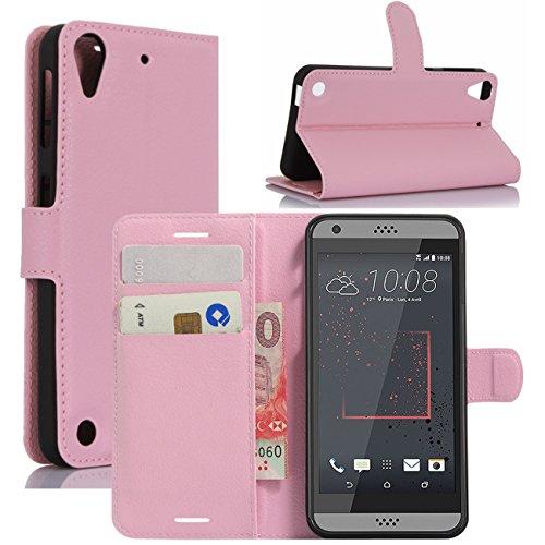 HualuBro HTC Desire 530 Hülle, Premium PU Leder Leather Wallet HandyHülle Tasche Schutzhülle Flip Hülle Cover für HTC Desire 530 Smartphone (Pink)