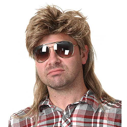 Kaneles Mullet Wigs for Men 80s Costumes Fancy Party Accessory Cosplay Wig (Light Brown)