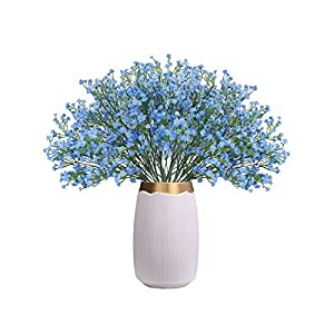 CHAMER 16 Pcs Baby Breath Artificial Flowers Fake Gypsophila Bouquets Fake Real Touch Flowers for Wedding Party Home Decoration(White Yellow Blue)