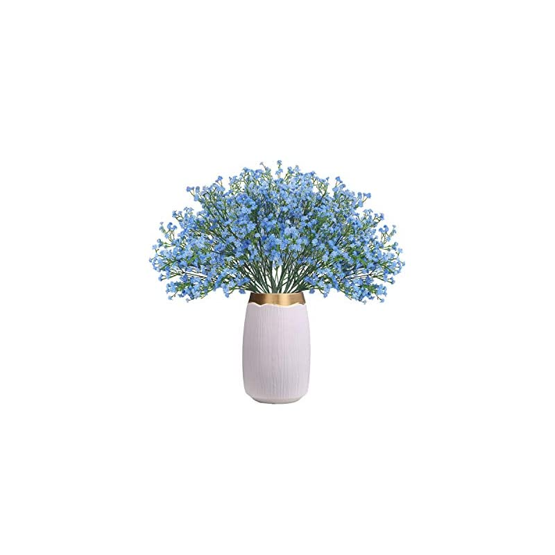 silk flower arrangements chamer 16 pcs baby breath artificial flowers fake gypsophila bouquets fake real touch flowers for wedding party home decoration(blue)