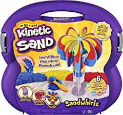 DROP AND SQUISH: With red, yellow and blue Kinetic Sand included, drop sand into 1 of 2 extruder tubes and gently squish it down with the plunger! Layer until you're ready to make your sand transform! MIX AND MATCH TOOLS: The Sandwhirlz Playset has o...