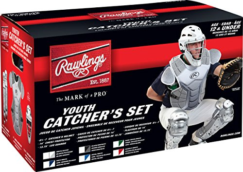 Rawlings Sporting Goods VCSY-W/SIL Catcher Set Velo Series Protective Gear, White/Silver, Age 12 & Under