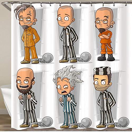 FOURFOOL Cortinas de Ducha,Prisioneros Divertidos Dibujos Animados en Bata con carácter de Cadenas de Metal,Impermeable Cortinas Baño y Lavables Cortinas Bañera 180x180CM