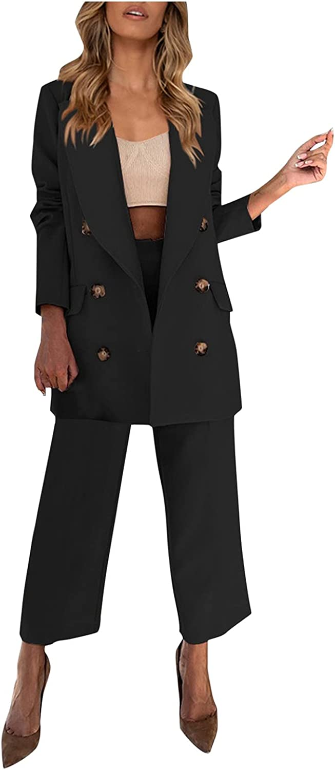Women Suits Sets, Women's Double-Breasted Suit Notched Collar Jacket Casual Straight Trousers Suit