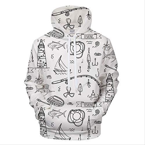 ZCMWY Hoodie 3D 3D Printing Hoodie Mannen/Vrouwen Schilderen Pullover Herfst en Winter Sportswear Casual Losse Witte Sweatshirt