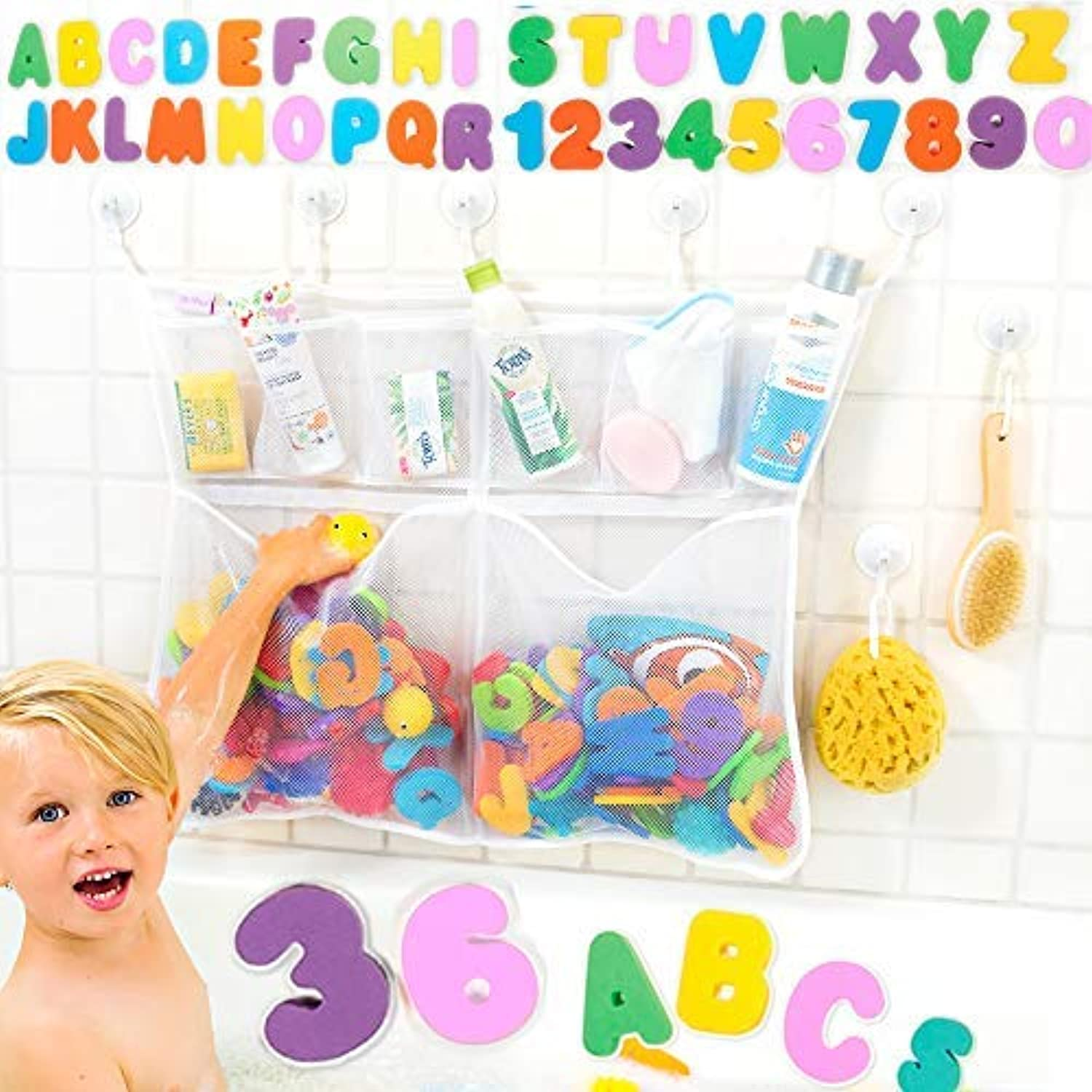 The Really Big Tub Cubby Baby Bath Toy Organizer + 36 Foam Letters & Numbers + Large Quick Dry Bathtub Storage Net + 6x Lock Tight Suction Hooks & 3M Stickers - Sure Not To Fall.