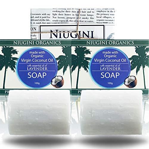 2 x Le Savon Le Plus Pur du Monde NIUGINI ORGANICS | Savon à la noix de coco | Fabriqué à base d'huile de noix de coco biologique et d'huile essentielle de lavande | 2 x 100g | SANS HUILE DE PALME