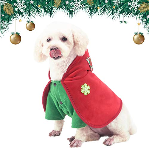 PETTOM Vestiti di Natale per Cani, Costume Cane Taglia Grande e Piccola, Cappotto Natalizio per Animali Domestici Caldo e Confortevole (XL)