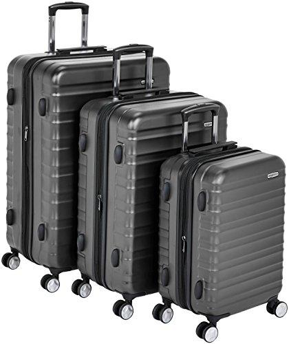 Amazon Basics - Maleta rígida «Hardside» de alta calidad, con ruedas giratorias y cerradura TSA incorporada - Juego de 3 unidades (55 cm, 68 cm, 78 cm), Negro