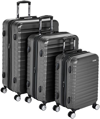 AmazonBasics Premium Hardside Spinner Luggage with Built-In TSA Lock - 3-Piece Set (21', 26', 30'), Black