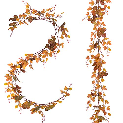 2 Pack Fall Maple Leaf Garland - 6.5ft/Piece Artificial Fall Foliage Garland Autumn Decoration for Home Wedding Halloween Party Thanksgiving