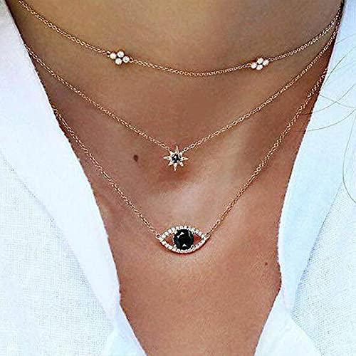 Collar Joyas Collar De Mujer, Collar De Fiesta Femenino De Ojo Malvado De Múltiples Capas, Collar De Color Plateado Y Estrella, Joyería De Regalo De A