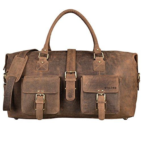 STILORD Leder Vintage Reisetasche groß Ledertasche Urlaub Retro Sporttasche Weekender Bag aus echtem Rindsleder braun