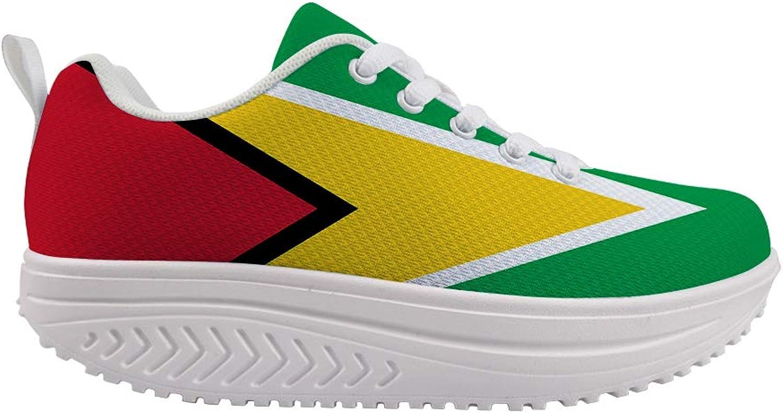 Owaheson Swing Platform Toning Fitness Casual Walking shoes Wedge Sneaker Women Guyana Flag