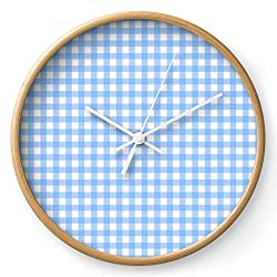 Society6 Sky Blue Gingham by Color Obsession on Wall Clock - Natural - White