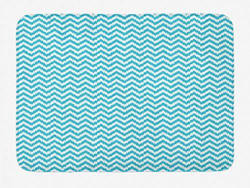 JOOMI Aqua Chevron Bath Mat, Grungy Design Zigzags Abstract Simplistic Art Modern Geometric Pattern, Bathroom Mat with Non Slip Backing