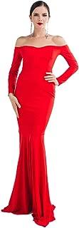 Miss ord Women's Long Sleeve Word Shoulder Mermaid Floor Length Dress Party Gown