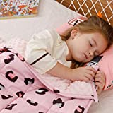 BUZIO Kids Weighted Blanket 3 lbs, Ultra Cozy Flannel Minky Dotted and Cotton Sided with Cartoon Patterns, Heavy Blanket Great for Calming and Sleeping, 36x48 inches, Pink Panther