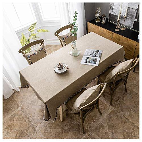 Mantel,Mantel De Lino De Algodón Rectangular Rectangular, Mantel Lavable Cubierta De Mesa Para Cocinas Exteriores O Interiores Mantel,Café,125x210cm/49.21x82.67in