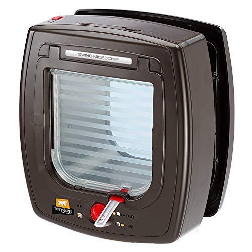 Ferplast 72090012 Katzenklappe mit Microchip, Außen: 22,5 x 13,4 x 25,2 cm, Innen: 13,5 x 13,7 cm, braun