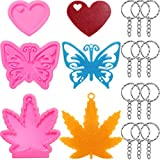 What you will get: 2 x maple leaf shaped silicone molds, 2 x heart shaped silicone molds, 2 x butterfly shape silicone molds and 20 x metal keychains, which can meet your handmade decoration needs Exquisite design: each silicone keychain mold has an ...