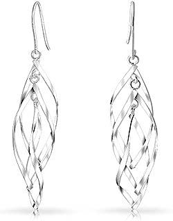 French Wire Ornate Filigree Swirl Thin Linear Drop Dangle Fish Hook Earrings For Women 925 Sterling Silver