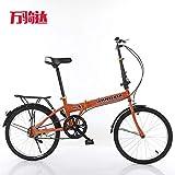 Mdsfe 20 Pouces vélo Pliant vélo Adulte vélo Pliant vélo Peut être personnalisé en Alliage d'aluminium Cadre - Orange, 20 Pouces