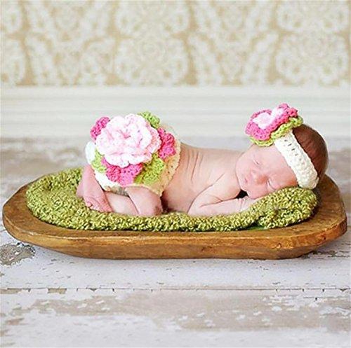 PEPEL Bébé Photographie Prop Infantile Costume Belle Fleur Bandeau Set(White)